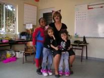 Halloweenfeest, met Riangelo, Kathy en Emily