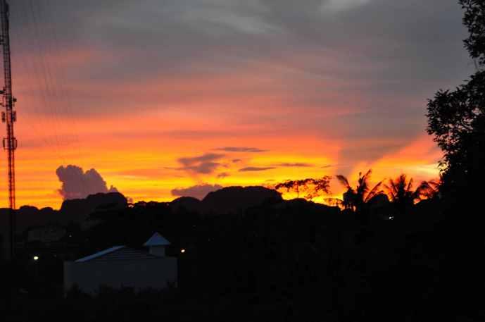 Zonsondergang vanuit hotel