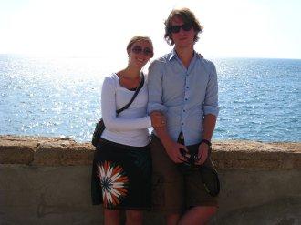 Robert en ik bij de Atlantische oceaan