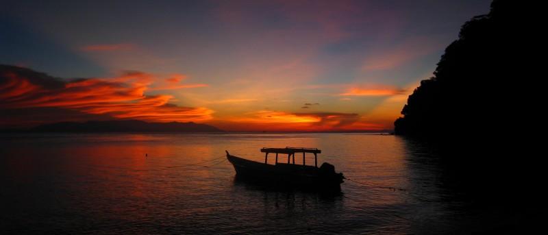 Satang Island, zonsondergang