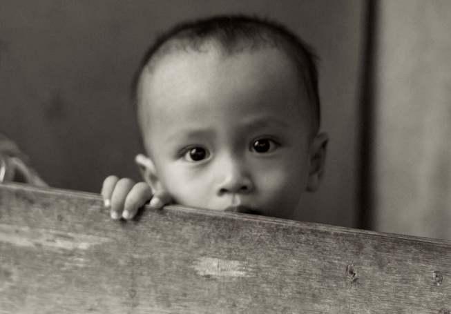 Kleine man in Jakarta
