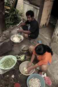 Mateo en zijn vrouw koken