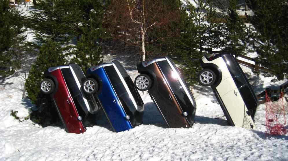 Mini's in de sneeuw