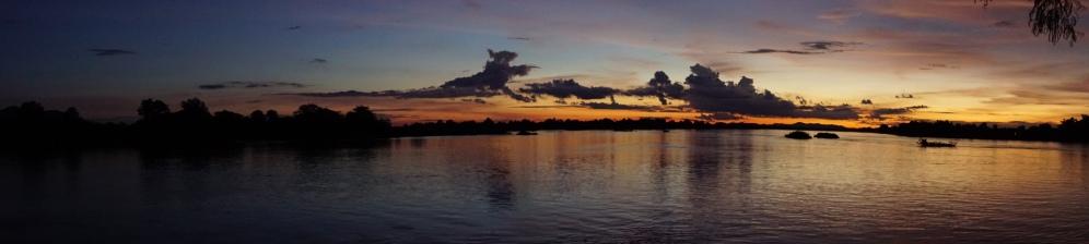 Don Det, zonsondergang Mekong