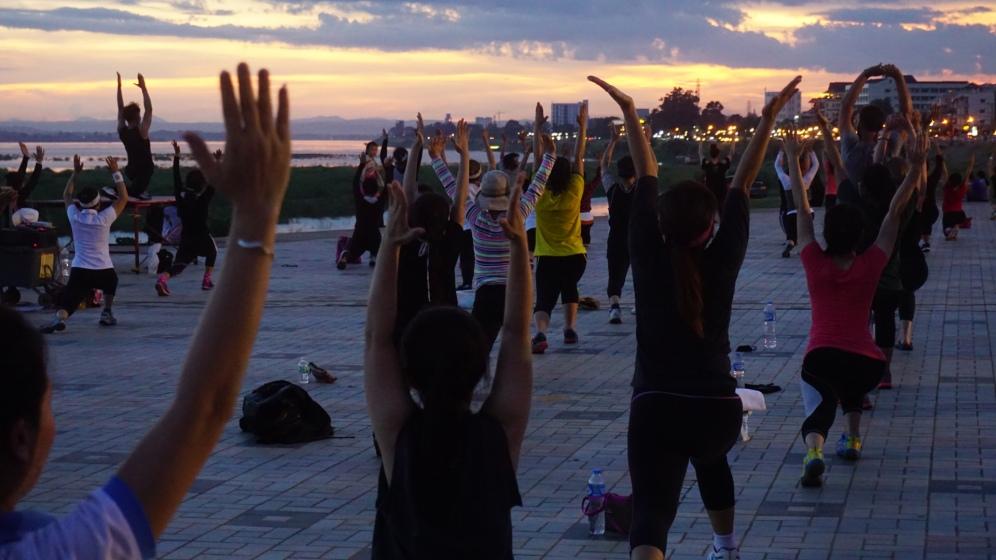 Open air aerobics class